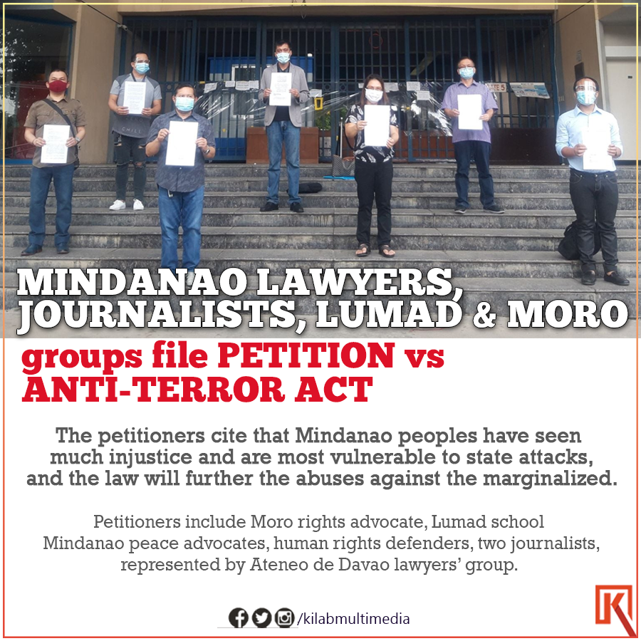 Mindanao journalists, former ARMM Vice Gov, rights advocate and Lumad school Salugpongan files petition to the Supreme Court vs Anti-Terror Law, citing the law worsens the red-tagging, injustice and vulnerability of Mindanao peoples. #JUNKTERRORLAWNOW pic.twitter.com/3yaMUkulXP