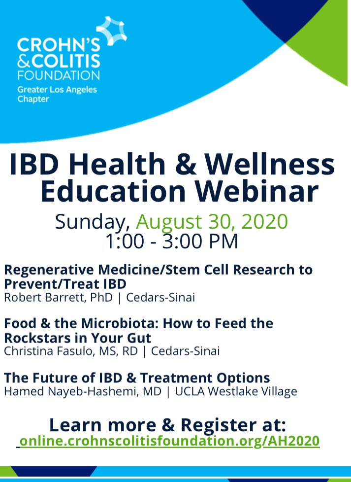 Another #COVID silver lining: our #IBD experts can deliver their talks from SoCal, streaming to wherever you are! Don't miss this webinar on #IBD Health and Wellness on August 30 via @CrohnsColitisFn https://t.co/xY0hdOInbF https://t.co/HrI3TXQLna