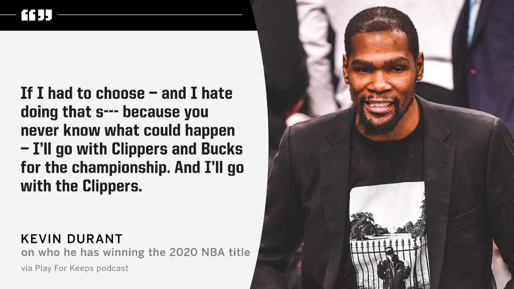 .@KDTrey5 says if he had to choose he's taking the Clippers to beat the Bucks in the Finals 👀 https://t.co/LZUDN26JOZ