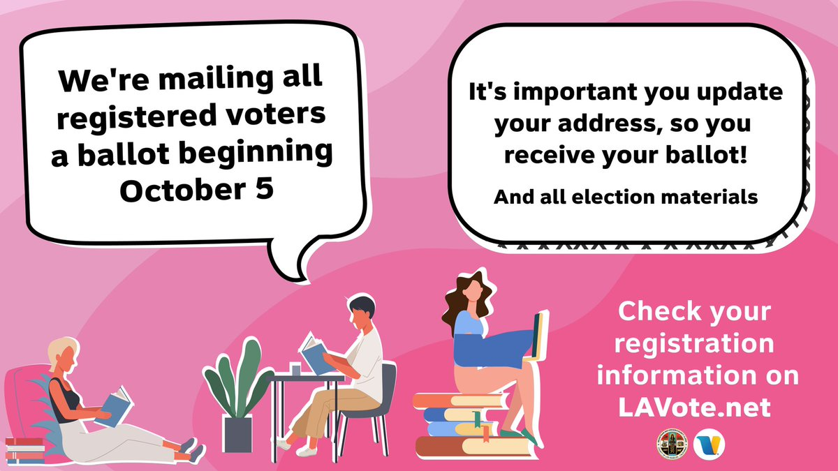Check your mailbox! All L.A. County voters were sent a Vote by Mail Address Confirmation Card. If your information is correct, you're good to go. If you've recently moved or changed any information, please send an update so @LACountyRRCC can get your ballot to you on Oct. 5.