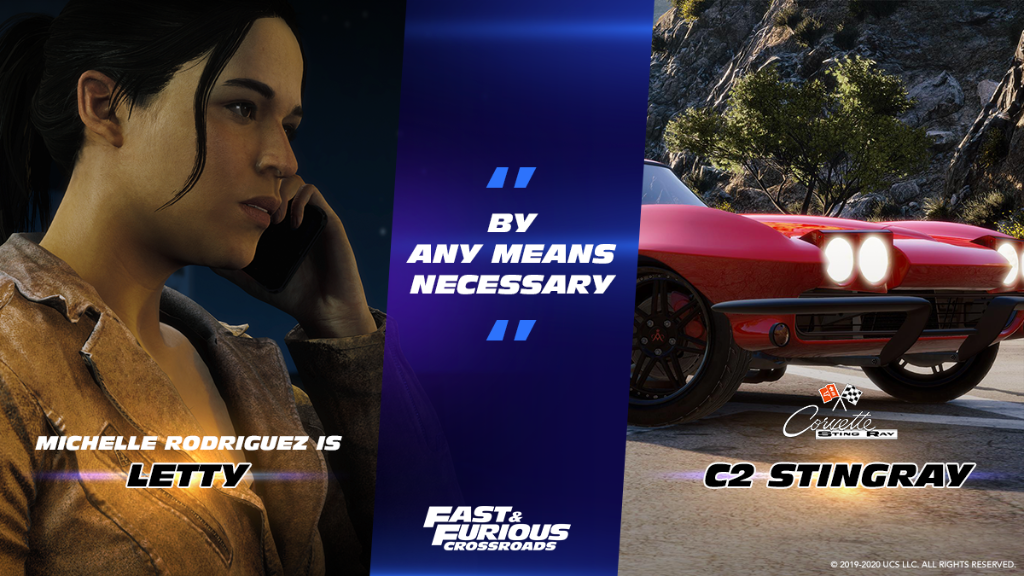 Who do you turn to when you're in trouble? Letty Ortiz, voiced by Michelle Rodriguez, is back in #FastFuriousCrossroads with her rally red Chevy Corvette C2 Sting Ray with its 427 big-block Chevy V8. https://t.co/rjx41CfqY2 https://t.co/ZU2ESX2A0u