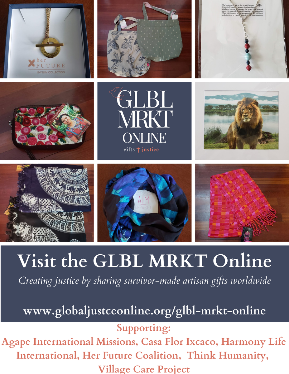 The GLBL MRKT Online has a wide range of artisan wares from all of our featured organizations including apparel, accessories, jewelry, artwork, and other specialty items.  Visit us at http://www.globaljusticeonline.org/glbl-mrkt  for gifts + justice!pic.twitter.com/wUyhxwgKBz
