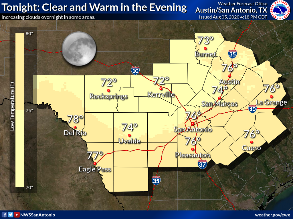 Clear and warm this evening. Low temperatures in the 70s tonight with a southeast wind. pic.twitter.com/vQJT3gs6kb