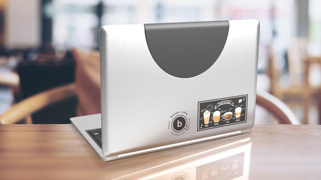 ちなみに貼るとこんな感じ!!(PCの種類は謎なので、ステッカーのサイズのイメージをつかんでもらえるとうれしいです)#bosyuカフェ