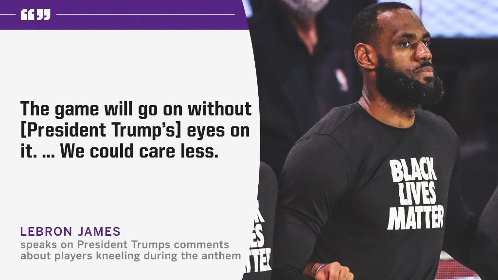 LeBron speaks on President Trump's comments about players kneeling during the national anthem. https://t.co/SHIYHVh5TJ