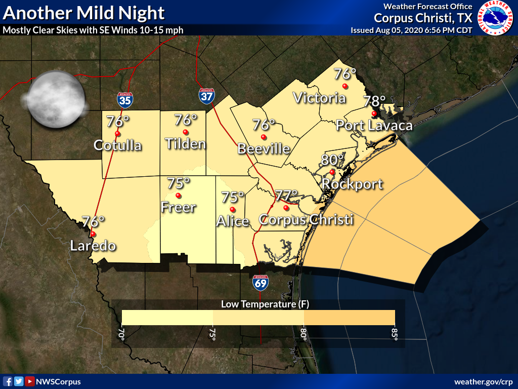 Mostly clear skies can be expected tonight with southeast winds of 10 to 15 mph. Lows will be in the mid to upper 70s, with lower 80s along the coast.