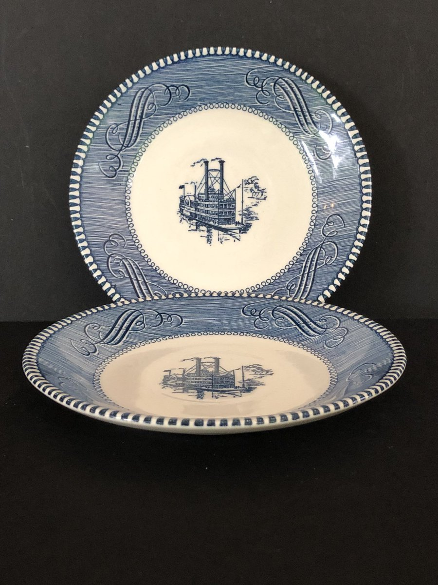 """Excited to share this item from my #etsy shop: Currier and Ives Royal China Company """"Low Water on the Mississippi"""" Dessert Plate #currierandives #meganscorner #etsyseller https://etsy.me/2Dzmvt8pic.twitter.com/roQQrTVWgY"""