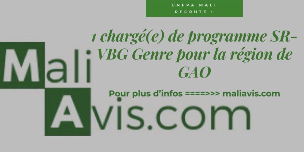 Unfpa Mali recrute 1 Chargé(e) de Programme SR-VBG-Genre pour la région de #Gao #Mali #Maliavis détails sur https://t.co/MHXLWygq2M #Emploi https://t.co/MfIZZCbrRl