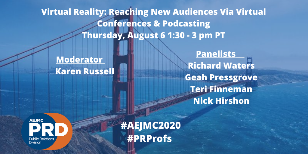 These panelists might be able to predict the future. You'll definitely want to hear what they have to say! #AEJMC2020 #PRProfs   Virtual Reality: Reaching New Audiences Via Virtual Conferences & Podcasting  Thursday, August 6 1:30-3 pm PT  https://t.co/hR8kfCTn7Z https://t.co/ykBUMOz9rT