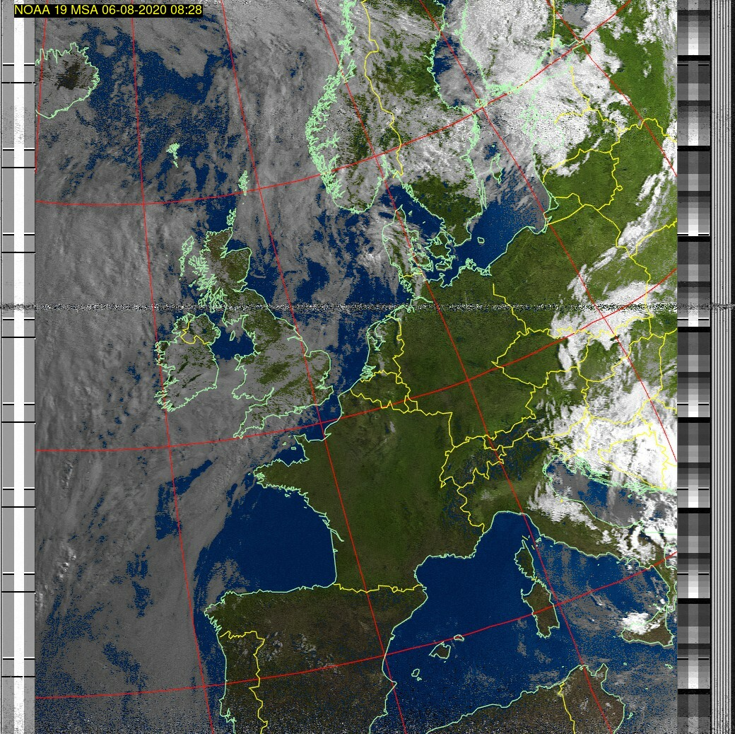 Wetter Satellit: NOAA 19 06-08-2020 08:28. Elevation maximal: 68 Grad. #NOAA #weather #noaasatellite #clima #wxtoimg #rtlsdr #raspberrypi #germany #wetterpic.twitter.com/SVc0GGndEW