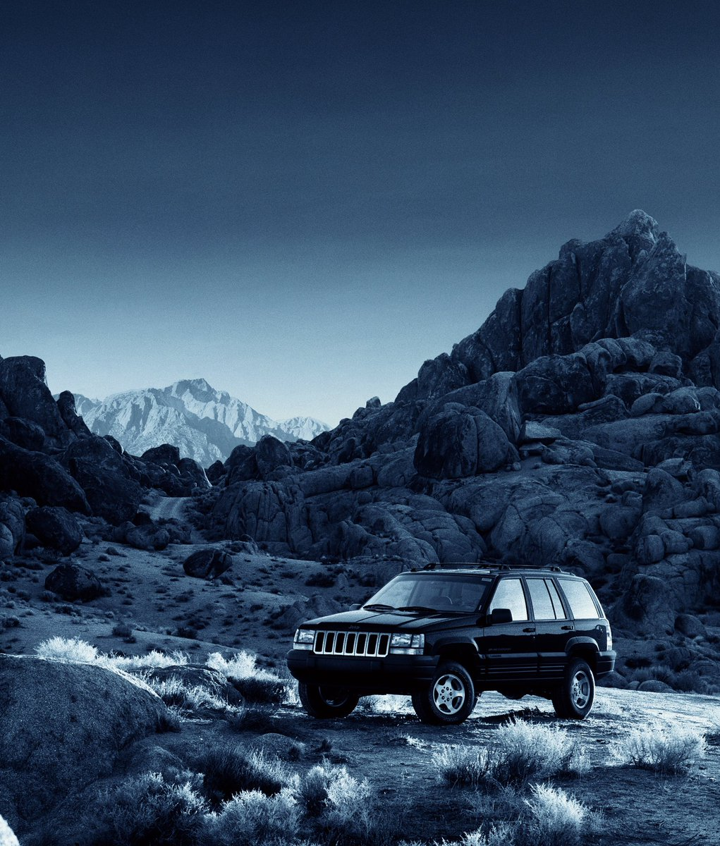 B & W press ads pt 4 #Analogue #Archive #Photography 1996 Back in the '90's who can forget those iconic #Jeep campaigns created by DFB London all over the press & billboards. So my photographic ad campaign journey with Jeep started in the Alabama Hills, CA #locationphotographypic.twitter.com/jWB3o1k9RB