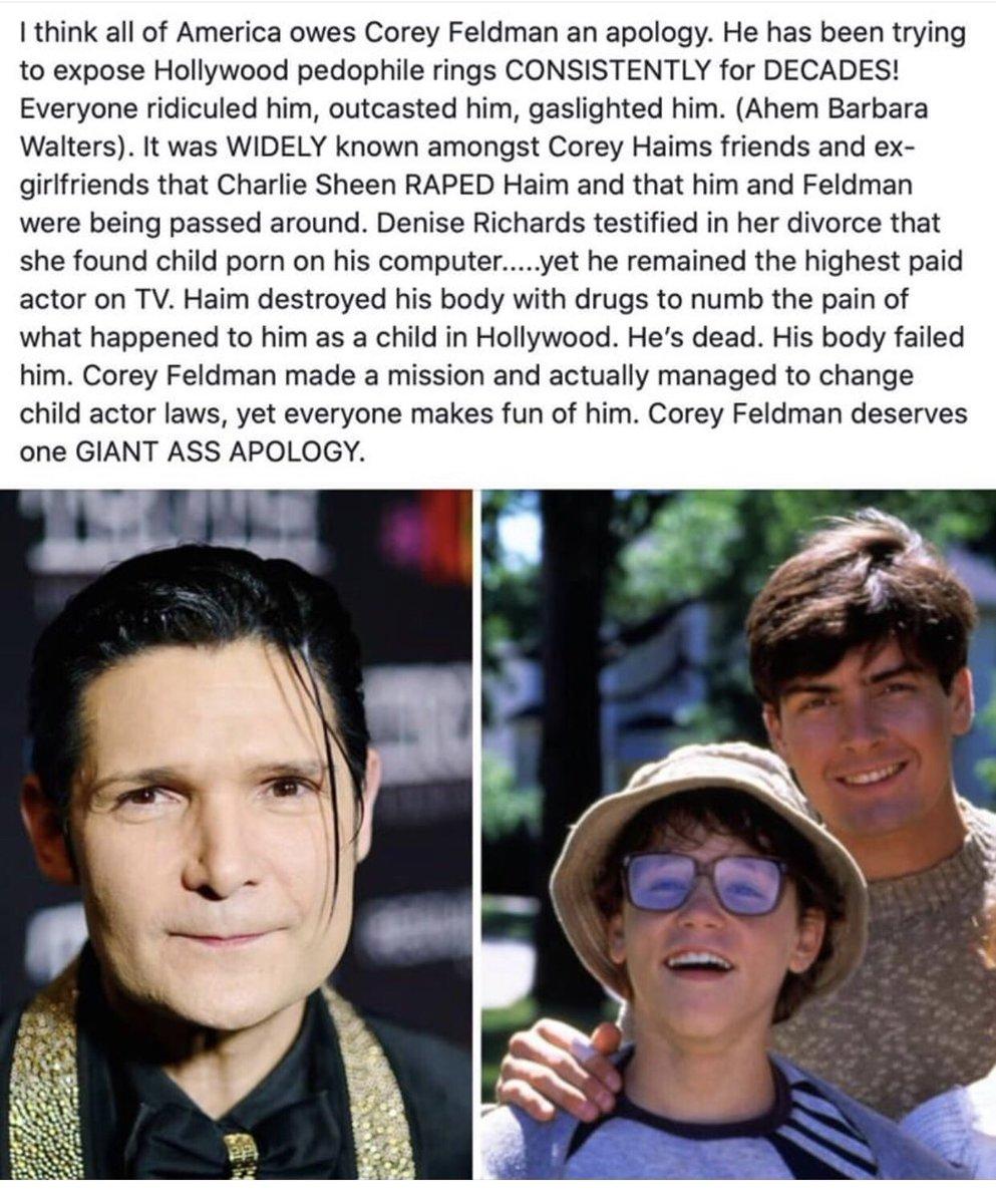 #CoreyFeldman deserves an apology! #savethechildren #sextrafficking #pizzagate #pedophilia #hollywood #humantrafficking #pedowood @Corey_Feldman pic.twitter.com/JDxalSATP2