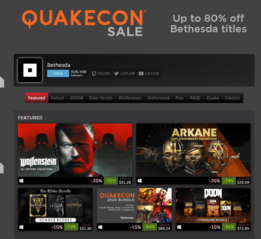 QuakeCon 2020 Sale on Steam 2