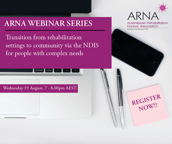 Webinar 19 August 2020: Presenters Deb Farrell & Alan Blackwood of @ypinh will explore the key issues & provide practical examples of planning for transition of people with very complex support needs from rehabilitation settings to community via the #NDIS http://ow.ly/v2e250AQQVe pic.twitter.com/iuvEcVfELo