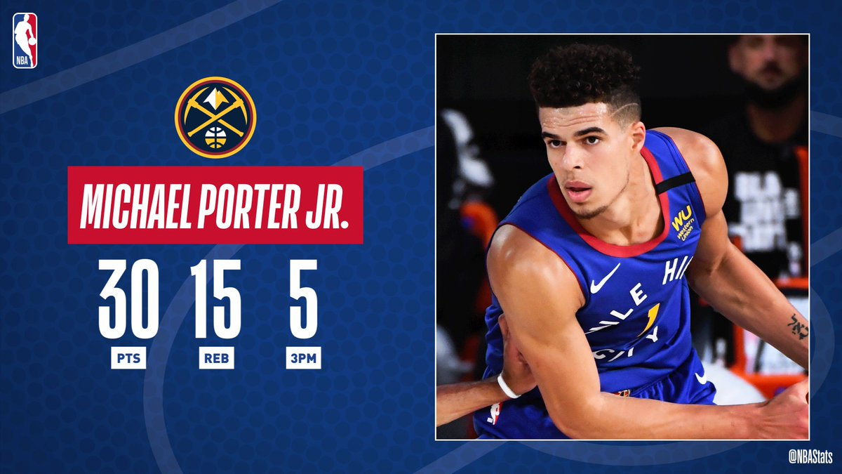 Michael Porter Jr. becomes the first rookie in @nuggets franchise history to record 30+ PTS and 10+ REB in back-to-back games! @NBA #SAPStatLineOfTheNight https://t.co/p3MJRPFcPU