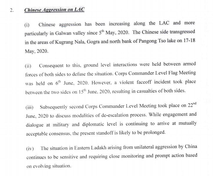 The MOD document which ssys transgression along LAC and says this skirmish likely to be prolonged ..