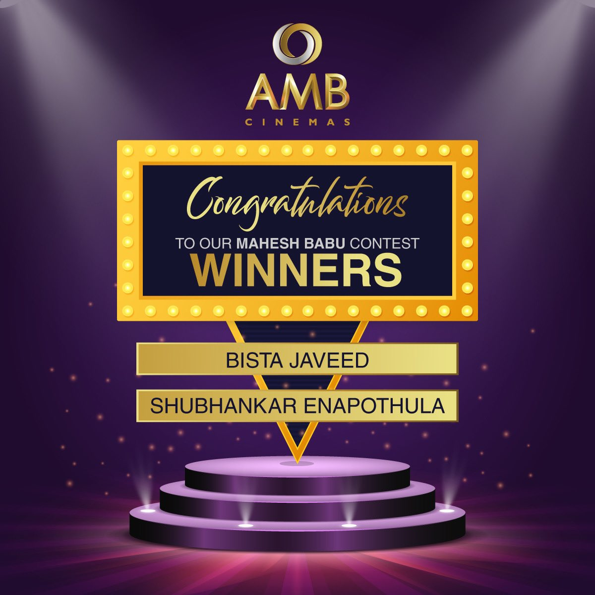 Congratulations to the WINNERS of the Day 2 of the Mahesh Babu contest!🎉 Please DM us for details on how to redeem your prize! 🥳 #Winners #MaheshBabu #MaheshBabuContest #ContestAlert #ExcitingPrizes #Gifts #AMBCinemas