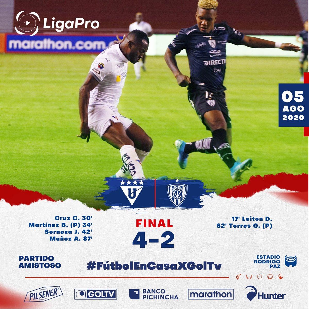 ¡Marcador Final!  #LigaPro   Amistoso ⠀   Estadio Rodrigo Paz Delgado ⠀ #LDU #IDV (-)⠀  Goles: #LDU: Cruz (30'), Martínez (34') -P, Sornoza (42'), Muñoz (87') #IDV: Leiton (17'), Torres (81') - P ⠀  #LigaPro  #GanamosTodos #LDU #IDVpic.twitter.com/vnklKfp0Ty