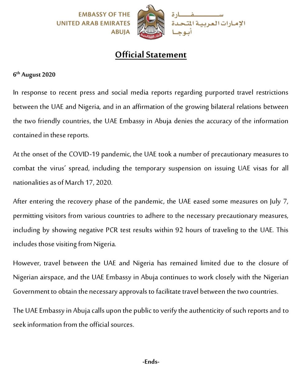 Our Official Statement on the recent  press and social media reports purporting travel restrictions between the #UAE and #Nigeria.pic.twitter.com/HKIYZya3ad