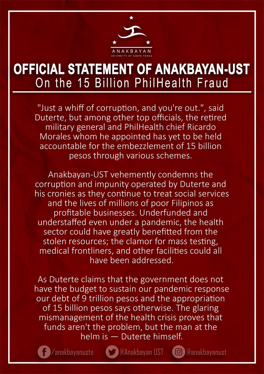 Official Statement of Anakbayan-UST on the 15 Billion PhilHealth Fraud:  #OUSTDUTERTENOW pic.twitter.com/ihTDZtxUgt