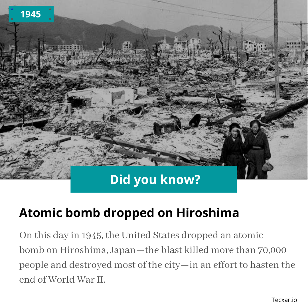 Did u know?  On this Day, in 1945, The Atomic bomb dropped on Hiroshima.  Visit us: https://tecxar.io  Email - info@tecxar.io  #didyouknowfacts #didyouknow #didyouknowthat pic.twitter.com/cOn2QzVXSg