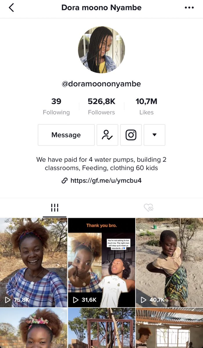 this is dora a woman who lives in africa. as her bio says shes making a lot of amazing projects and i think she needs more recognition. this is the link she has there for donations like clothes, toys, etc. if u can help it would mean a lot for those kids❤️ https://t.co/Idq6uWXKdn https://t.co/WNOVePcR6E