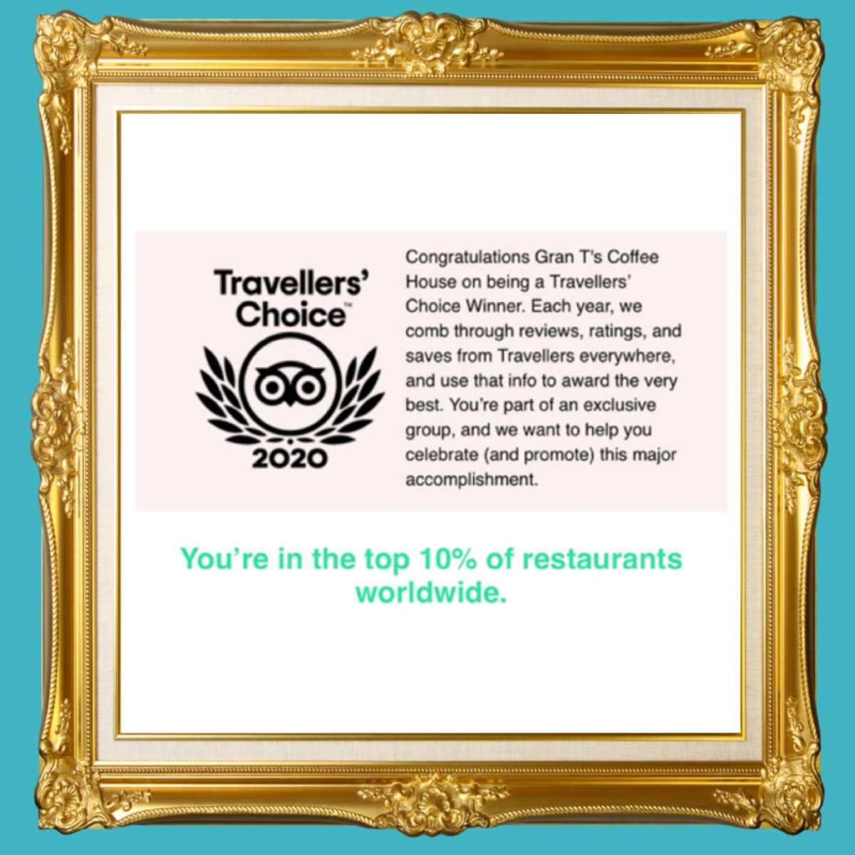 TRAVELLERS CHOICE  TOP 10%   What a lovely email to receive from @tripadvisor in such a tough time.   Hard work always pays off . #tripadvisor #privaleged #top10 #manchester #alty #altrincham #hale #cheshire #timperley #mcr #coffeehouse #coffeeshop #baristapic.twitter.com/uJjjTtxHfo
