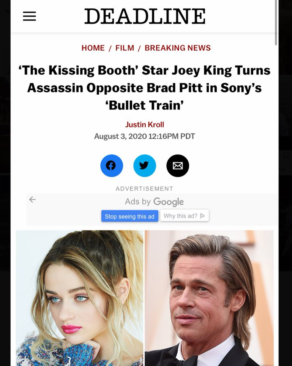 #TheKissingBooth star #JoeyKing is ready for her next project with #BradPitt! https://bit.ly/2PrTIt0  #home #film #breakingnews #sonybullettrain #upcomingmovie #hollywood #latest #news #downloads #santabantapic.twitter.com/3KnIfhPJPs