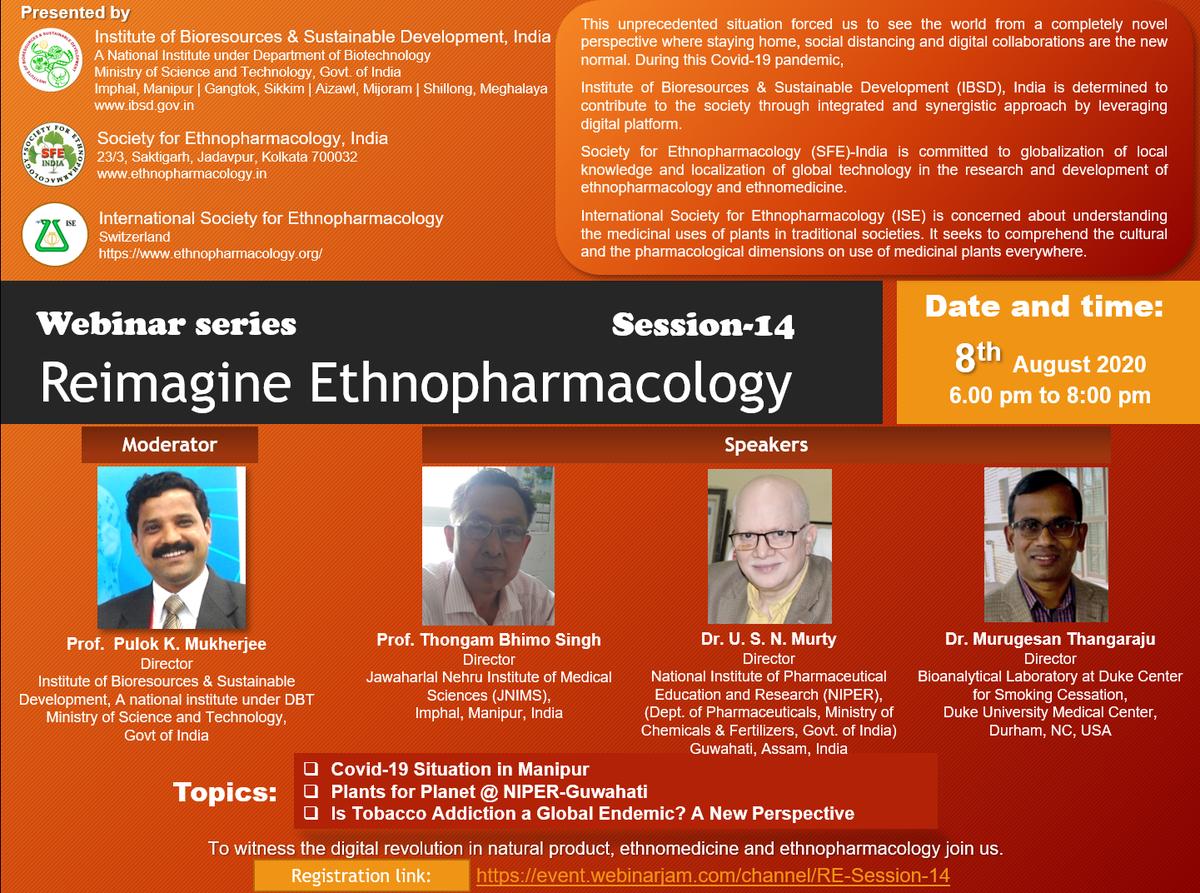 @DBT_IBSD -SFE-ISE Webinar Session-14: Event Invitation (August 08, 2020, 06:00 PM) on #ReimagineEthnopharmacology #COVID19 #IndiaFightsCorona @drharshvardhan @DBTIndia @RenuSwarup @PulokMukherjee #JNIMS #NIPER-G @GuwahatiNiper #DukeUniversity https://t.co/v13qqZvnLn