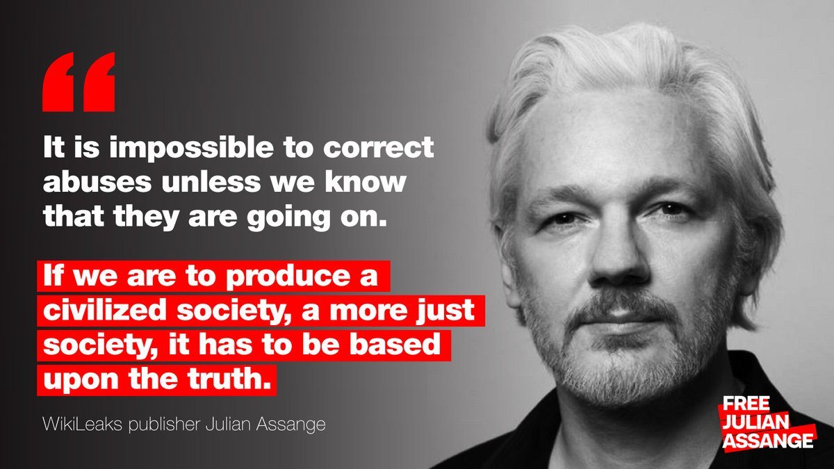 """It is impossible to correct abuse unless we know that they are going on. If we are to produce a civilized #society, it has to be based upon the #truth."" #WikiLeaks publisher #JulianAssange #DontExtraditeAssange #FreeAssange https://dontextraditeassange.com/donate pic.twitter.com/ybZ3hWLn1M"