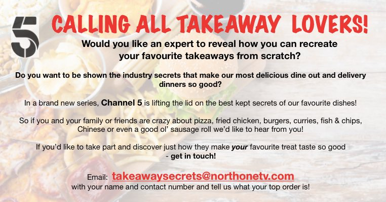 #CASTINGCALL @NorthOneTV are searching for #takeaway lovers for a new @channel5_tv series!    Part of a #family who's passionate about #fastfood?  Learn how to make it from scratch  takeawaysecrets@northonetv.com  #pizza #takeout #burger #food #thecastingcrewpic.twitter.com/EZ3Nq6wo9P