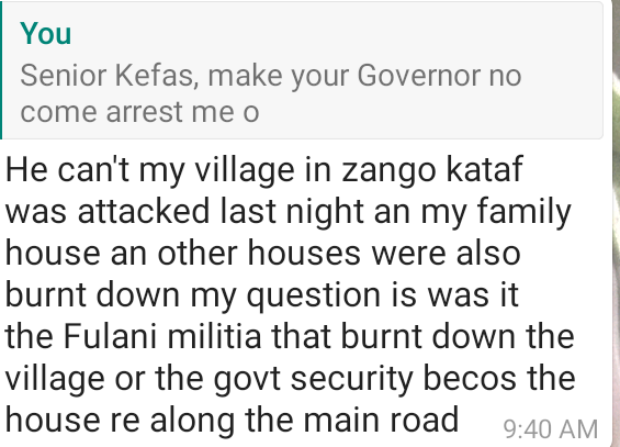 The senseless killings in Southern Kaduna is painfully sad. Despite the curfew, people are still being killed  Here's my conversation with Senior @KefasSilas4 this morning.  His village was attacked last night, they are still looking for dead bodies. @elrufai should resign. B gd. https://t.co/m6IroUIwZh
