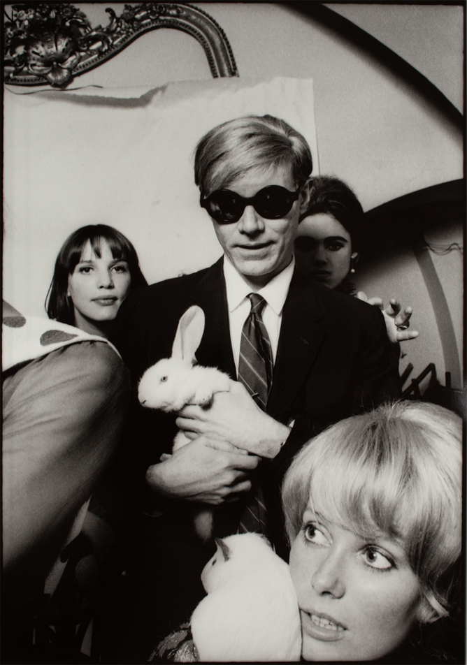 Andy Warhol, #BOTD, with Edie Sedgwick, Catherine Deneuve, and a couple of rabbits.