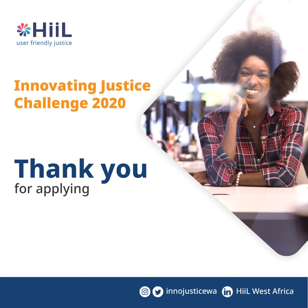 A big thank you to all the startups across West Africa that applied for the HiiL Innovating Justice Challenge 2020.  We're super excited and can't wait to unveil to you the next set of justice innovators.  Stay tuned!  #justinnovate20 #InnovatingJusticeChallenge2020 #SDGs https://t.co/oDG71EJueR