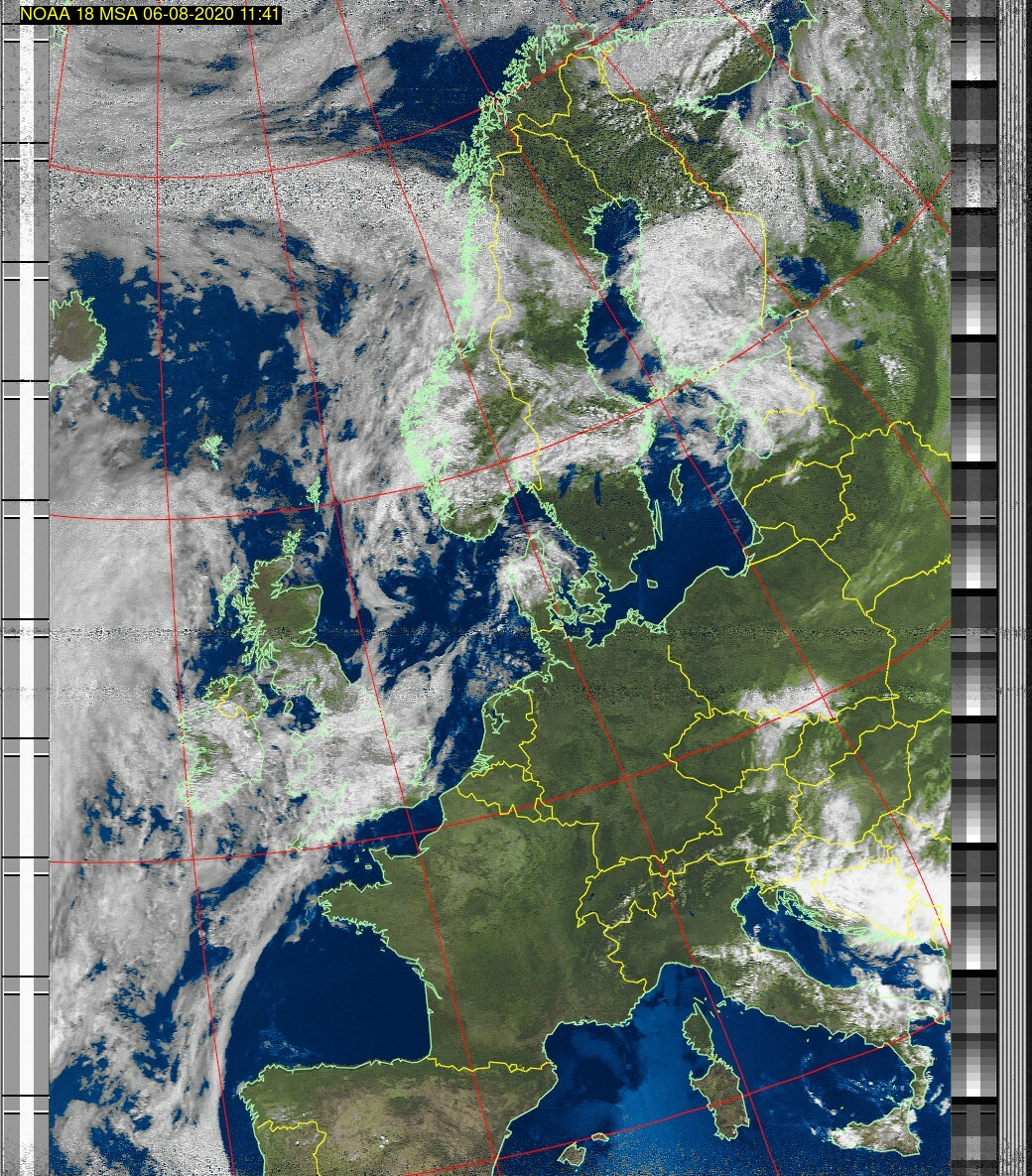 Wetter Satellit: NOAA 18 06-08-2020 11:41. Elevation maximal: 76 Grad. #NOAA #weather #noaasatellite #clima #wxtoimg #rtlsdr #raspberrypi #germany #wetterpic.twitter.com/iQgK74cf7z