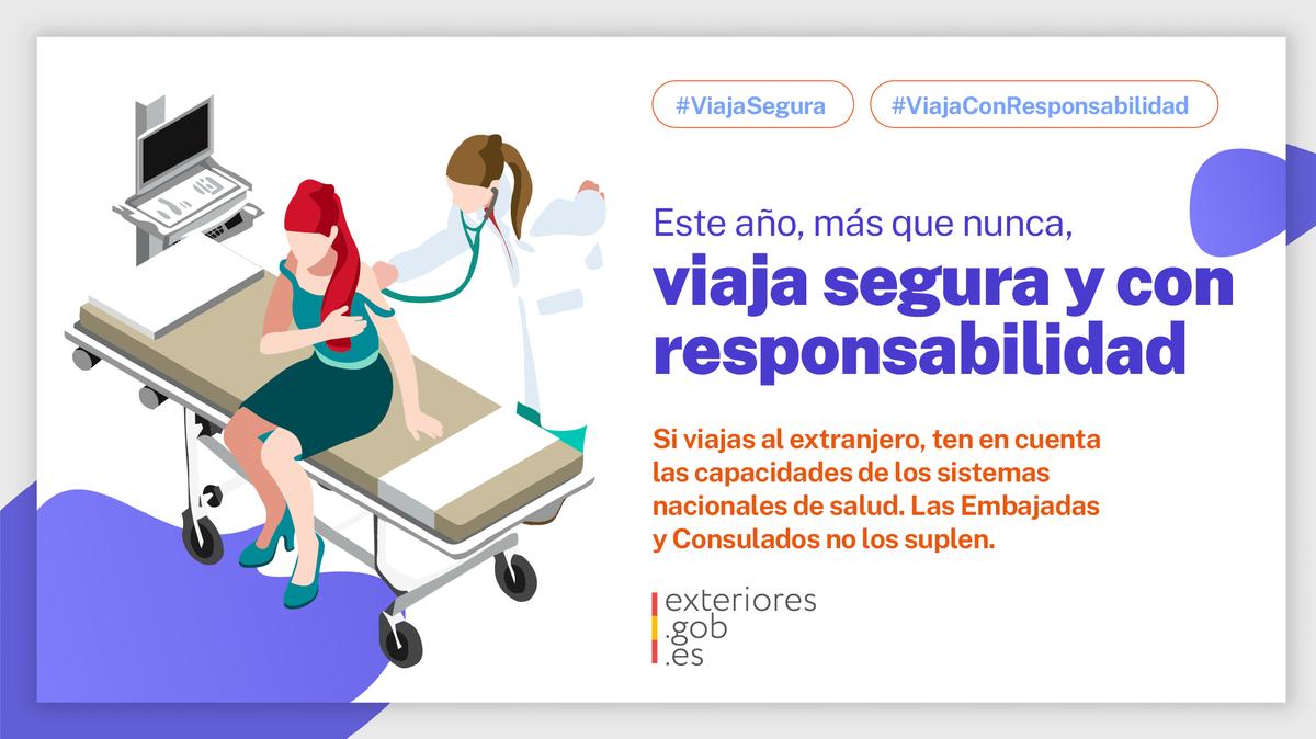 ❗ Las Embajadas y Consulados de #España no pueden suplir la capacidad de los sistemas nacionales de salud de otros países.  🌐🏥 Si viajas al exterior, #ViajaSegura y ten en cuenta las posibles limitaciones sanitarias en tu país de destino.  #ViajaConResponsabilidad https://t.co/wbXMtImSLo