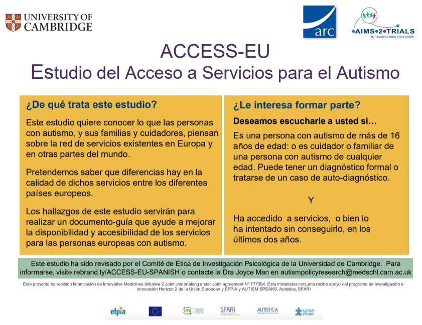 Un estudio europeo coordinado por @Cambridge_Uni busca conocer la opinión de personas con #autismo y sus familias sobre la red de servicios existentes para el colectivo. Si quieres participar, accede a la encuesta (anónima) en español aquí: https://t.co/F0ocPisWss  @Aims2Trials https://t.co/8xdyi2HoeZ