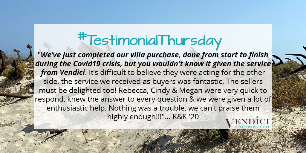 Delighted to share this fantastic #review with you on #TestimonialThursday from our very happy clients! If you'd like to be successful in the Central Algarve too, contact me: rebecca@vendiciproperties.com #Vendici #cantskiphope #cleanandsafe #Algarve #ValedoLobo #QuintadoLagopic.twitter.com/5ccjPBrg2G