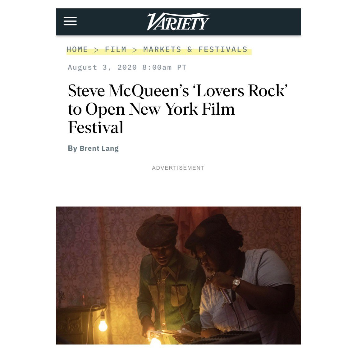 Thrilled to announce that Steve McQueen's 'Lovers Rock' starring @onlymikes_ is opening New York Film Festival this year ahead of its premiere on @bbc and @amazonprimevideo 🎥✨