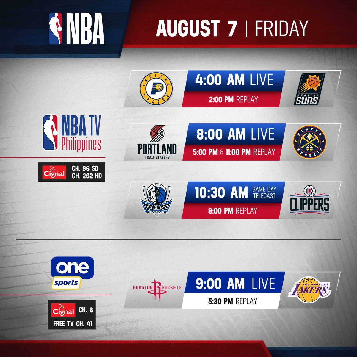 Check out tomorrow's NBA lineup:  NBA TV Philippines Pacers vs Suns @ 4:00AM LIVE Trail Blazers vs Nuggets @ 8:00AM LIVE Mavericks vs Clippers @ 10:30AM LIVE  One Sports Rockets vs Lakers @ 9:00AM LIVE  #StaySafeStayAwesome  #LiveAwesome  #WholeNewGame  #NBAonCignal https://t.co/PjFIW89Ivg