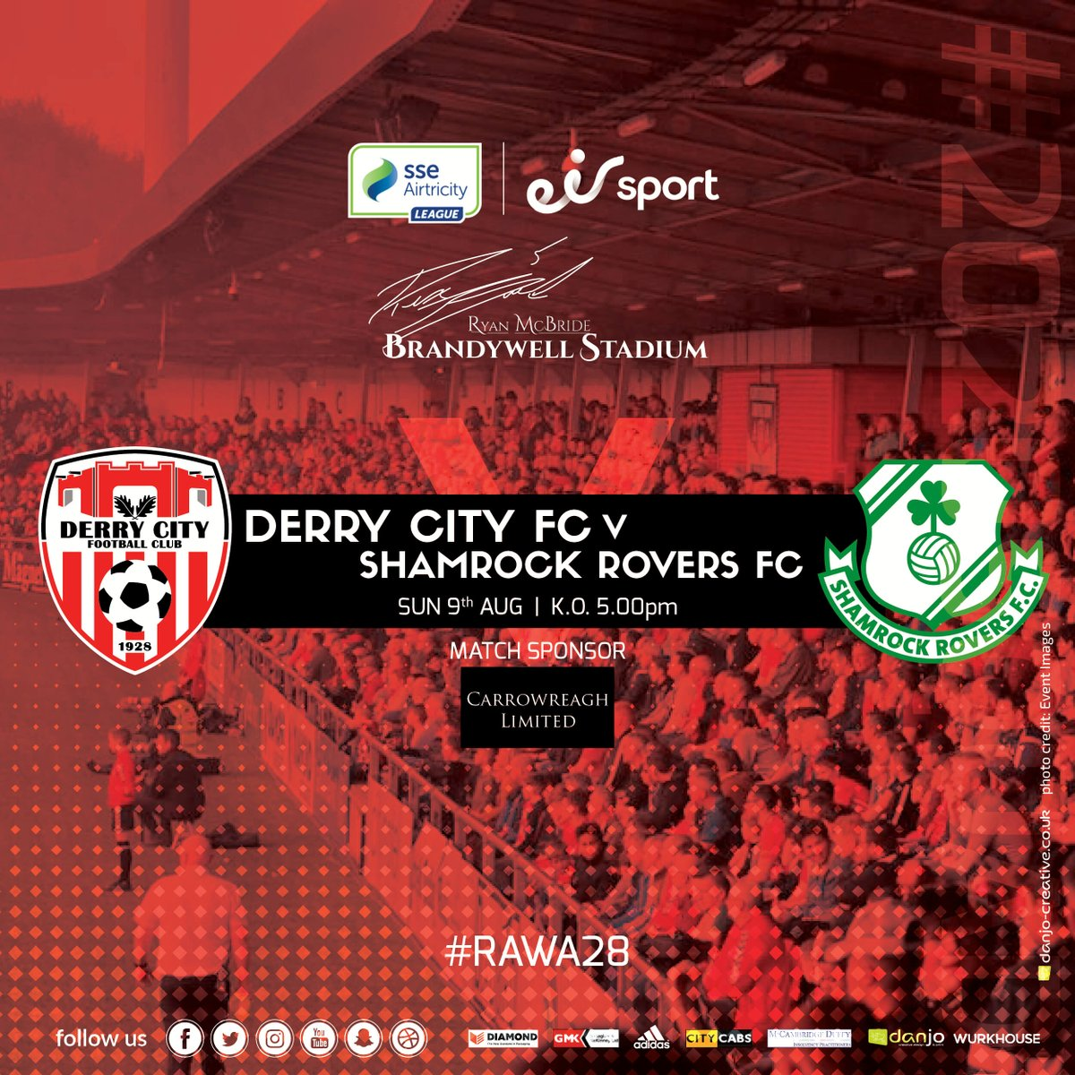 📺 City host @ShamrockRovers this Sunday at the Brandywell in the @SSEAirtricityLg. The game will be broadcast on @eirSport. KO 5pm. Match Sponsor: Carrowreagh Ltd 🔴⚪️ #RAWA28