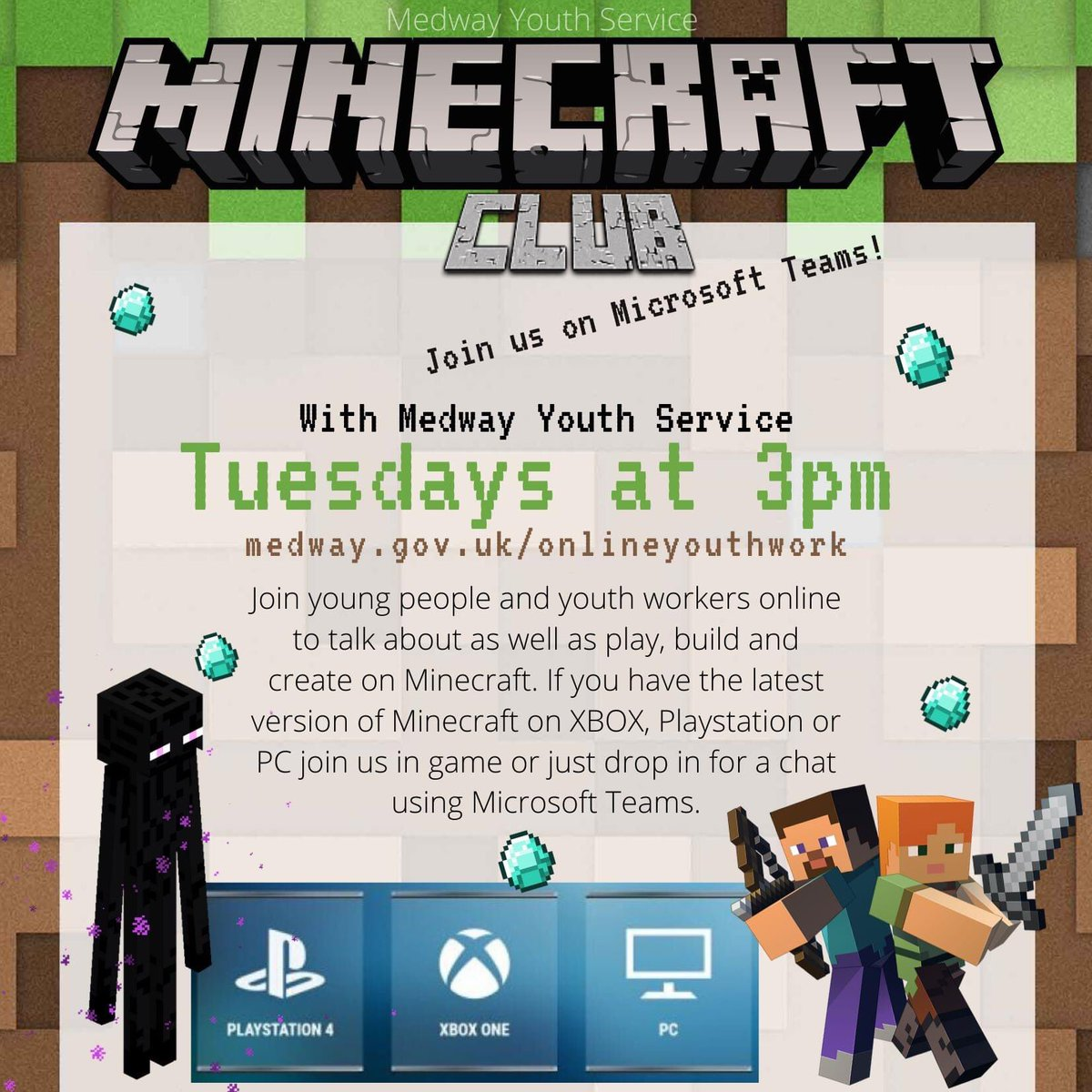 Do you play minecraft of Xbox1, ps4 or pc?  Do want to gain every achievement? Do you want to work as a team to beat the game and create an amazing virtual world?  Join our minecraft club, Tuesdays at 3:00. @Medway_Youth @MYC_MEDWAY @medway_councilpic.twitter.com/6I6d9SiOdG