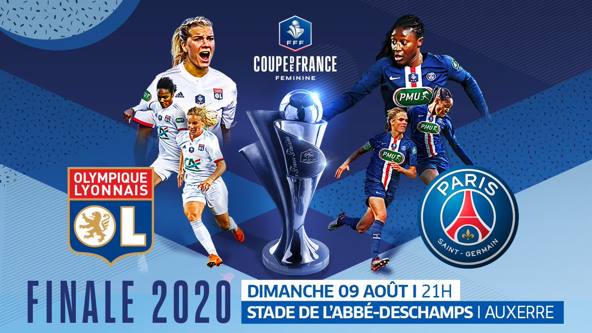 Coupe de France Féminine Finale Olympique Lyonnais v PSG Dimanche 9 Aôut 2020 2 pm cdt 📺 France 4 Watch via VPN for free We'll post information on North American streaming if it becomes available @coupedefrancedefootball #psg_feminines #psg image source: coupe de France https://t.co/6c36chBFyX