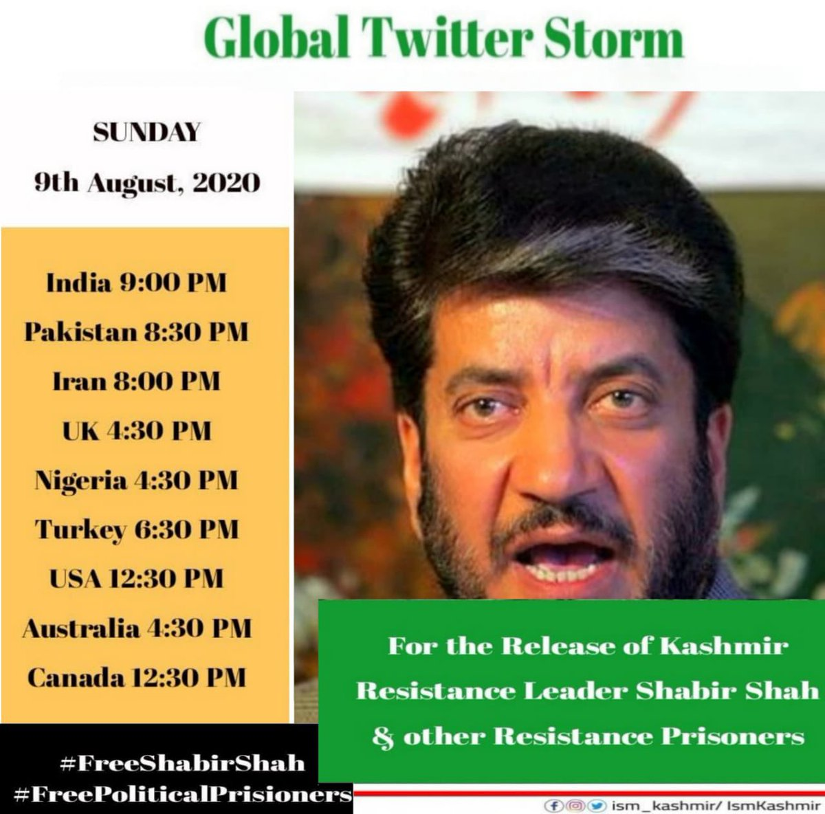 Please do support this campaign There will be a Global Twitter Storm on Sunday 9thAugust regarding all the political prisoners and my father Shabir Shah who has spent 33 years in jail also known as thePRISONER OF CONCOENCE use the hashtag #FreeShabirShah #FreePoliticalPrisoners https://t.co/Pthg9GmYND