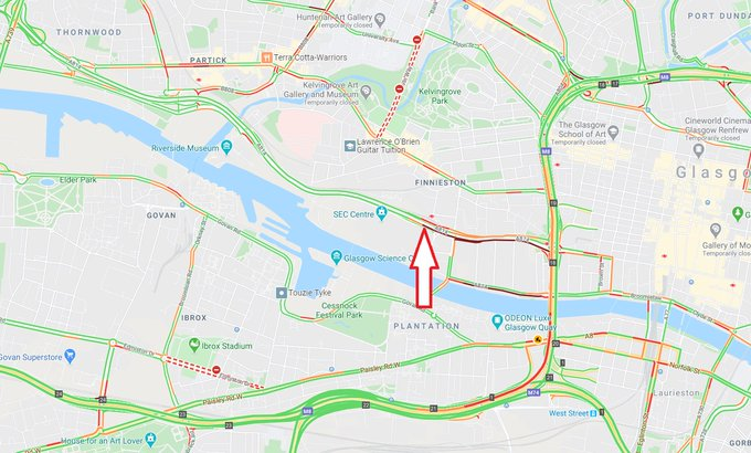 test Twitter Media - UPDATE❗️⌚️16:35  #A814 Clydeside Expressway westbound at Finnieston  Lane 2 of 2 is open now, lane 1 remains closed.  #ExpectDelays  @Glasgow_Times https://t.co/DN07auc23j