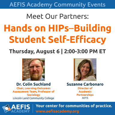 #HighImpactPractices are related to #StudentSuccess & #21stCenturySkills in high demand by employers.   Join this very special #MeetOurPartnersSeries event focused on #HIPs TODAY at 2:00 PM EST with @Emile_Dorkheim, @LincolnLand!  Register now: https://t.co/t5czugqJeY  #aefisable https://t.co/yenKSsouwc
