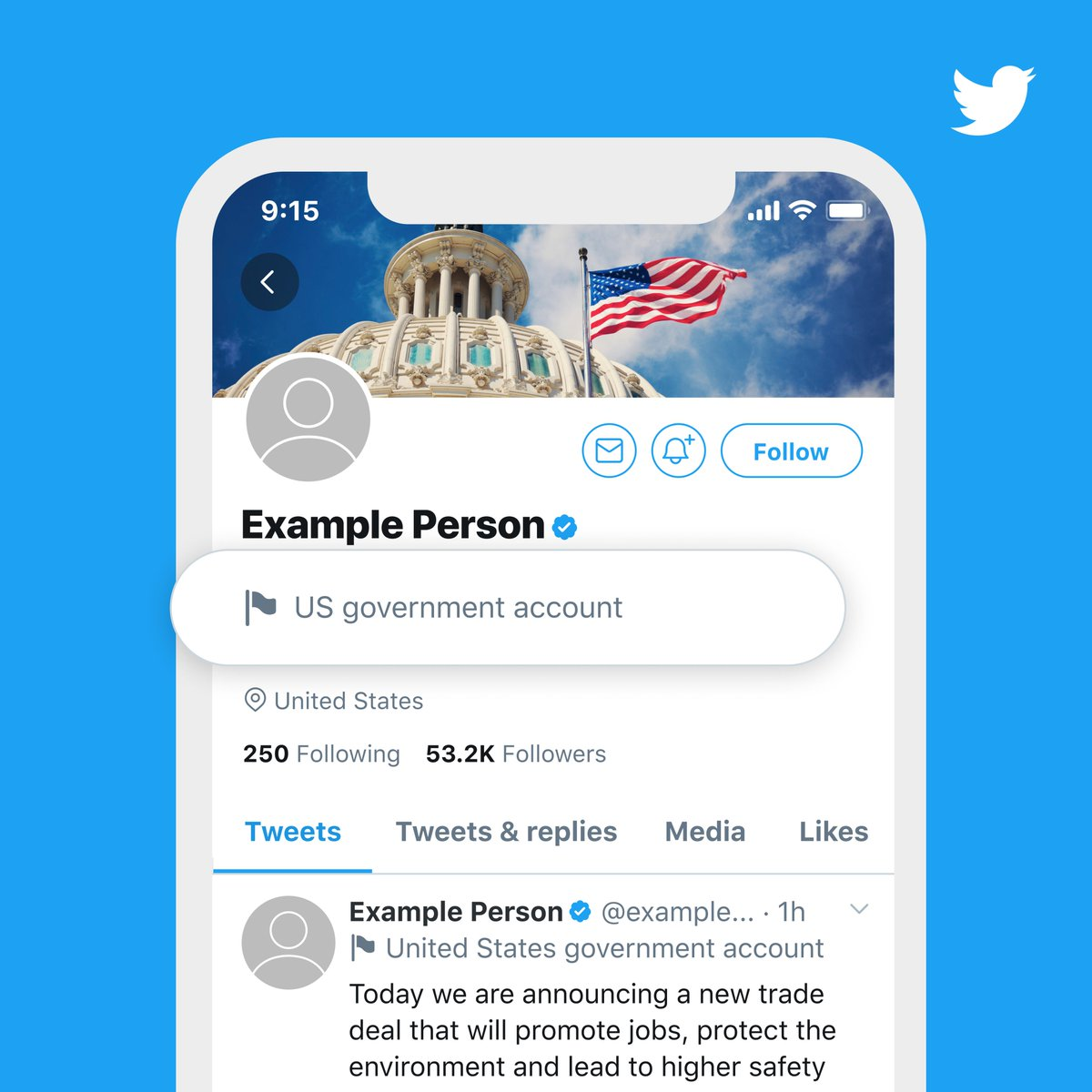 When it comes to conversations with government and state-affiliated media accounts on Twitter, we're helping to make the experience more transparent. Well now use two distinct profile labels for these types of accounts, so you can easily identify them and their Tweets. (1/2)