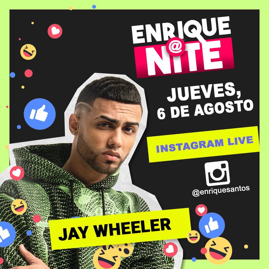 ¡Noche de jueves! Saca una 🍺 o tu 🍷 favorito y conéctate con 🧔🏻 @EnriqueSantos a las 8PM ET porque #jaywheeler estará en vivo para compartir contigo. Pon tu alarma 🕗 para que no te pierdas de #EnriqueAtNITE 📲 #InstagramLIVE