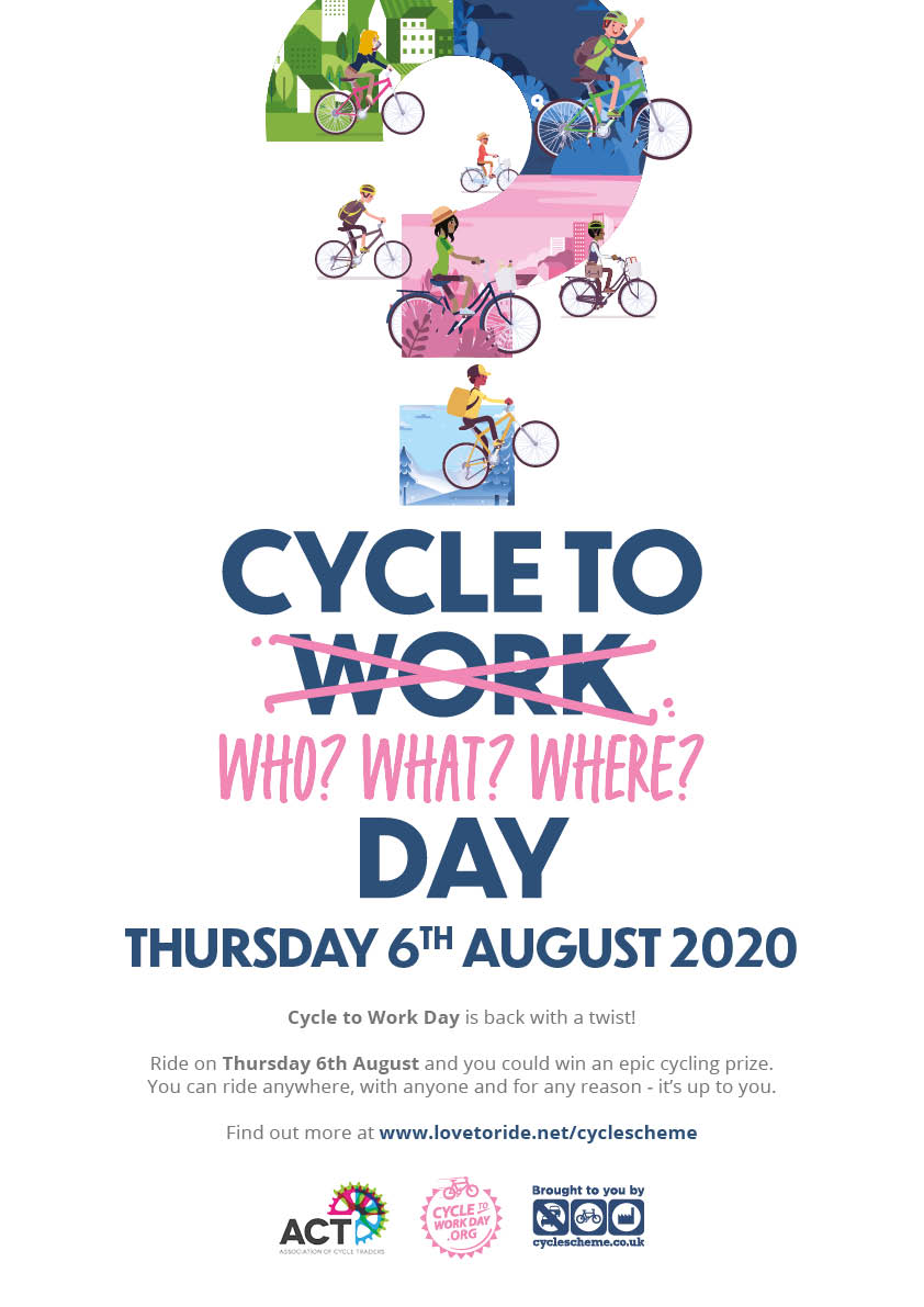 Today is Cycle to Work Day  Cycle to Work Day is the UK's biggest one-day commuting event and this year they are adapting. Grab your bike and cycle anywhere you'd like for a chance to win a prize!   Find out more  https://www.lovetoride.net/cyclescheme #CycleToWorkDaypic.twitter.com/C9iWeyaX5P