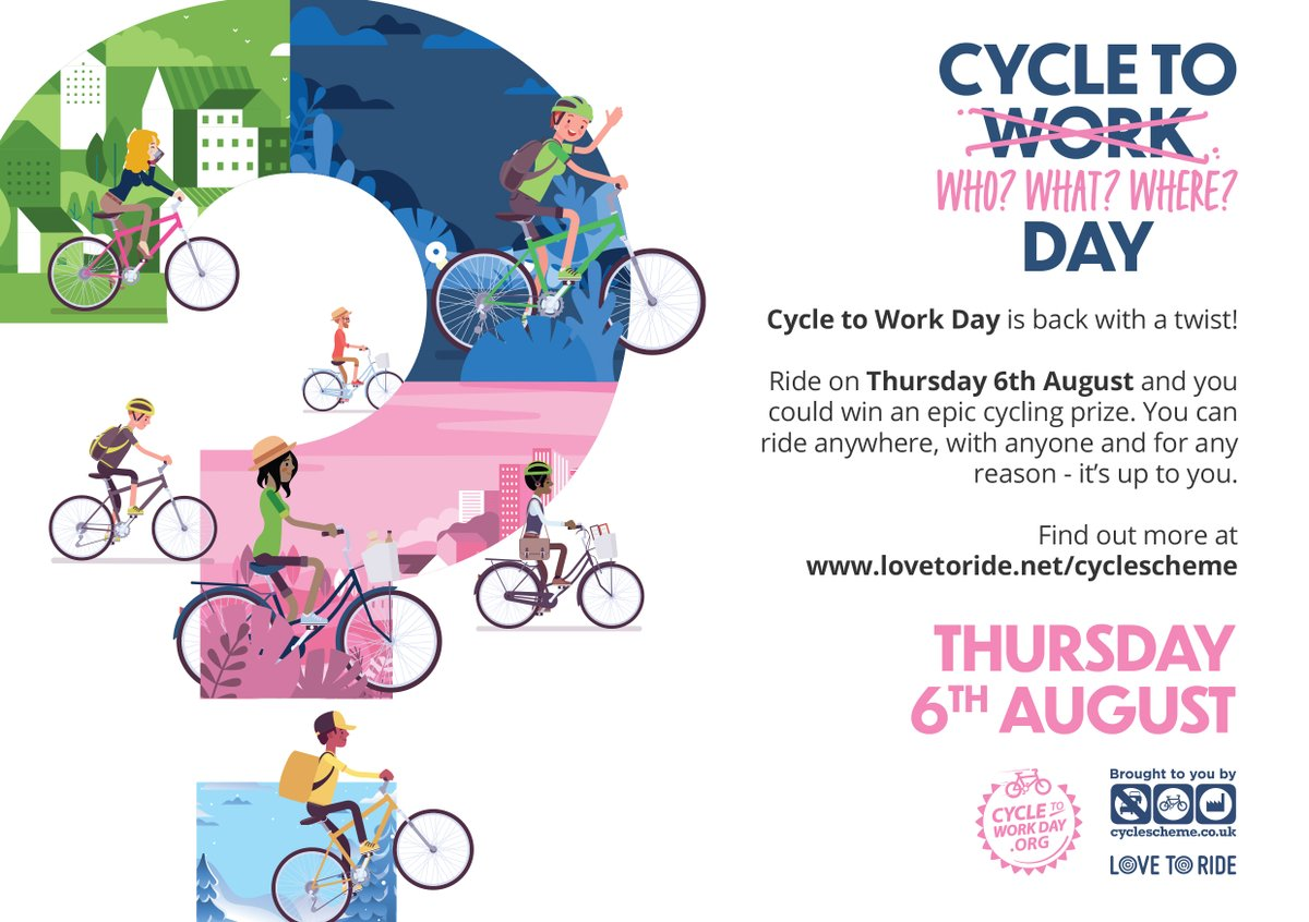 Today is Cycle to Work Day  Cycle to Work Day is the UK's biggest one-day commuting event and this year they are adapting. Grab your bike and cycle anywhere you'd like for a chance to win a prize!   Find out more  https://www.lovetoride.net/cyclescheme #CycleToWorkDaypic.twitter.com/xskNIdzBBL